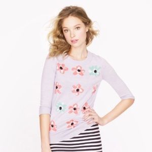 J. Crew Tippi Floral 3/4 Sleeve Crewneck Sweater